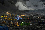 Tents Glow at the Base Camp of Mount Everest, Nepal Photographic Print by Pete McBride