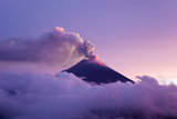 The Tungurahua Volcano Erupting at Twilight Photographic Print by Mike Theiss