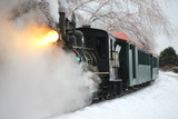 The Polar Express Moves Through a Snowy Landscape on Maine's Narrow Gauge Railroad Photographic Print by Robbie George