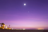 Sunset Turns the Sky Purple as the Full Moon and Venus Shine Brightly Photographic Print by Mike Theiss