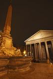 Night Lights of the Pantheon in Piazza Della Rotunda; Rome Lazio Italy Photographic Print by  Design Pics Inc