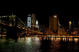 The Brooklyn Bridge Connects to a Bright New York City Night Skyline Photographic Print by Robbie George