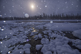 Snow Falling over the Blackstone River in a Tranquil Winter Scene Photographic Print by Peter Mather