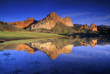 Reflection of Rock Formations in Lake, Garden of the Gods, Colorado Photographic Print by Keith Ladzinski