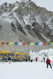Prayer Flags Wave in the Shadow of Mount Everest Base Camp Photographic Print by Pete McBride
