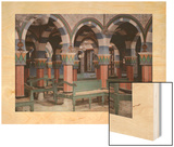 An Interior View of Griba Synagog in Djerba Wood Print by Gervais Courtellemont
