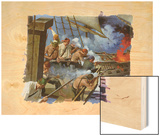 A Painting Depicts Gunmen on the British Warship, Centurion Wood Print by Robert Mcginnis