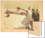 A Painting Depicts Alexander the Great Refusing Water in the Desert Wood Print by Tom Lovell