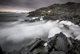 Foggy Landscape of Ice Blocks on a Rocky Beach Photographic Print by Jim Richardson