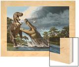 A Deinosuchus, an Alligator Ancestor, Lunges at an Albertosaurus Wood Print by Raul D. Martin