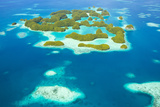 An Aerial View of Palau's Rock Islands in the Turquoise Waters of the Pacific Ocean Photographic Print by Mike Theiss