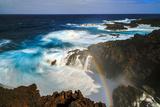 Waves and Rainbow at the Coastal Cliffs of La Palma, Canary Islands Photographic Print by Babak Tafreshi