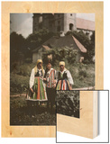 Three Girls Stand Together in Front of a Church Wood Print by Hans Hildenbrand