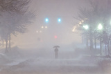 A Man with an Umbrella During the Historic Blizzard That Hit Boston in 2013 Photographic Print by Mike Theiss