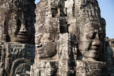 Serene Faces Sculpted into the Exterior Walls of Bayon Temple, Angkor Wat Photographic Print by Erika Skogg