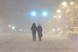 Nighttime Street Scene During the Historic Blizzard That Hit Boston in 2013 Photographic Print by Mike Theiss