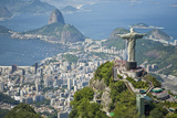 Aerial of the Christ the Redeemer Statue Overlooking Rio De Janeiro Photographic Print by Mike Theiss