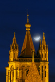 The New Moon Above the Historic Cathedral of Notre Dame, in Lausanne Photographic Print by Babak Tafreshi