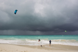 A Kiteboarder Enjoying Gusty Winds Created by Hurricane Tomas Photographic Print by Mike Theiss