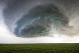 A Supercell Thunderstorm Rotates over Cropland Photographic Print by Jim Reed
