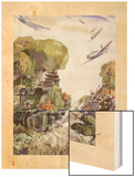 Supported by Planes, Tanks Speed into Battle Wood Print by Andre Durenceau