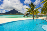 A Swimming Pool on the Beach at the Le Meridien Resort, with Mount Otemanu in the Distance Photographic Print by Mike Theiss