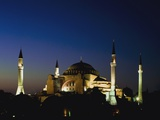 Illuminated Hagia Sophia Mosque at Dusk Photographic Print by  Design Pics Inc