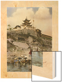 Boats on the River Near the City of Chongqing Wood Print by S.R. Vinton