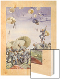 U.S. Paratroopers and their Color Coded Supplies Land in a Field Wood Print by Andre Durenceau