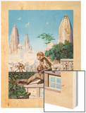 Painting of Rhesus Monkeys in an Indian Cityscape Wood Print by Elie Cheverlange