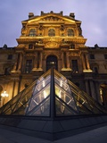 Small Glass Pyramid Outside the Louvre Museum at Dusk Photographic Print by  Design Pics Inc
