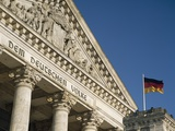Detail of Bundestag (Reichstag) with German Flag in Front Photographic Print by  Design Pics Inc