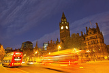 Double-Decker Buses Passing Manchester City Hall at Night Photographic Print by Mike Theiss