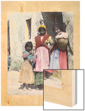 Three Gypsy Girls Stand at the Doorway of a Stone Building Wood Print by Austin A. Breed