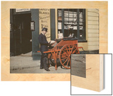 A Postman Delivers Packages with His Parcel Post Barrow Wood Print by Clifton R. Adams