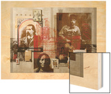 A Collage Features Famous Figures from America's Frontier Wood Print by Fred Otnes