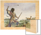 Ice Age Hunter Uses a Bola and a Wooden Spear to Hunt Llama-Like Prey Wood Print by Gregory A. Harlin