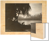 Sunset in Tahiti, with Silhouetted Palm Trees and Beach in Foreground Wood Print by L. Gauthier