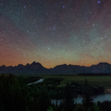 The Night Sky over Grand Teton National Park and the Snake River Photographic Print by Babak Tafreshi