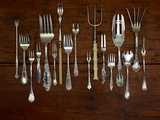Various Forks Used for Eating Fish, Oysters, Shrimp, Scallops, Snails and Lobster Photographic Print by Rebecca Hale