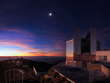 The Moon and Jupiter Shine in the Evening Twilight over the New Technology Telescope Photographic Print by Babak Tafreshi