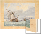 Oil Painting of the Sinking of the H.M.S. Mary Rose Wood Print by Richard Schlecht