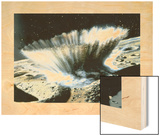 A Meteorite Crashes Creating a Storm of Rocks and Dust on Mercury Wood Print by Chris Foss