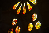 A Portion of a Rose Window at La Sagrada Familia Catedral Fotografisk trykk av Michael Melford