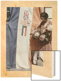 Miss Cape Town Stands with the Union Banner and National Flowers Wood Print by Melville Chater