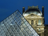 Detail of the Glass Pyramid Outside the Louvre Museum at Dusk Photographic Print by  Design Pics Inc
