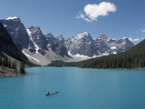 Canoeing on Moraine Lake, Banff National Park; Alberta, Canada Photographic Print by  Design Pics Inc