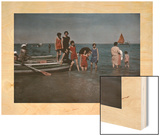 A Group of Women Relax on the Shore at the Lido Wood Print by Hans Hildenbrand