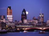 Looking Down the Thames at Dusk to Full Moon Rising Behind the Swiss Re Building Photographic Print by  Design Pics Inc