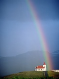 Rainbow over Church and Snaefellsness Photographic Print by  Design Pics Inc